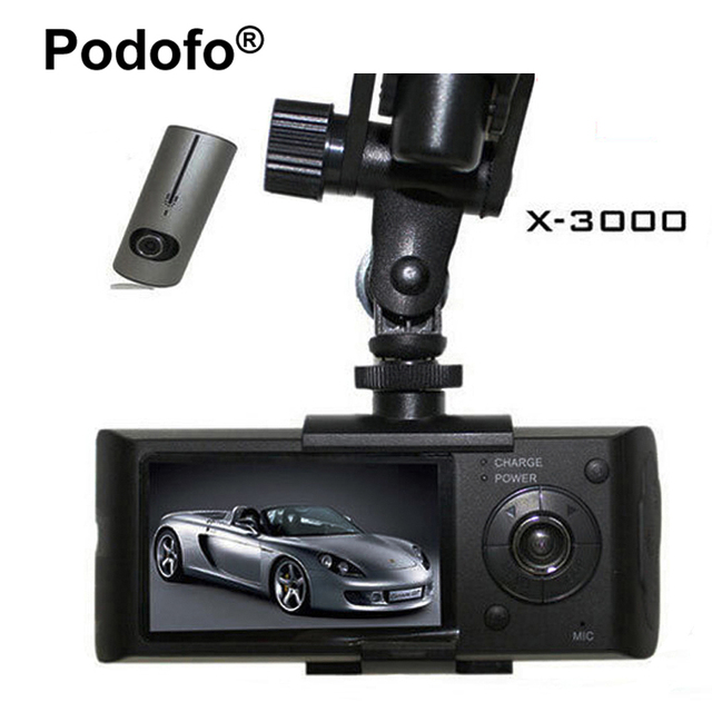Podofoデュアルレンズ車dvr x3000 r300ダッシュカメラでgps gセンサービデオカメラ140度広角2.7インチカムビデオレコーダー