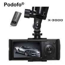 Podofo çift lensli araba DVR X3000 R300 Dash Kamera GPS G sensor Kamera 140 Derece Geniş Açı 2.7 inç kam video kaydedici