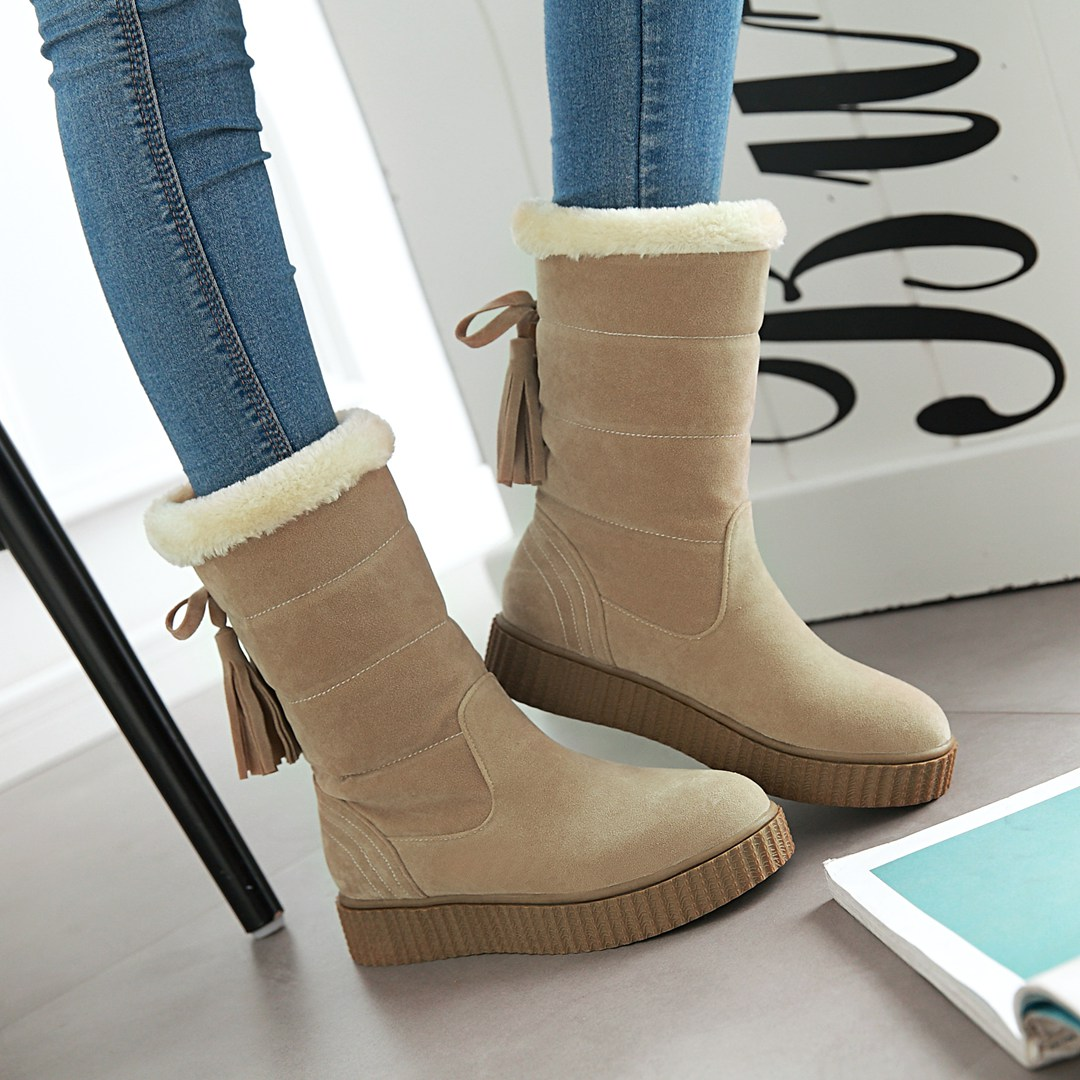 NEMAONE Women winter snow boots warm short plush ankle boots for women Round Toe winter shoes student footwear 5