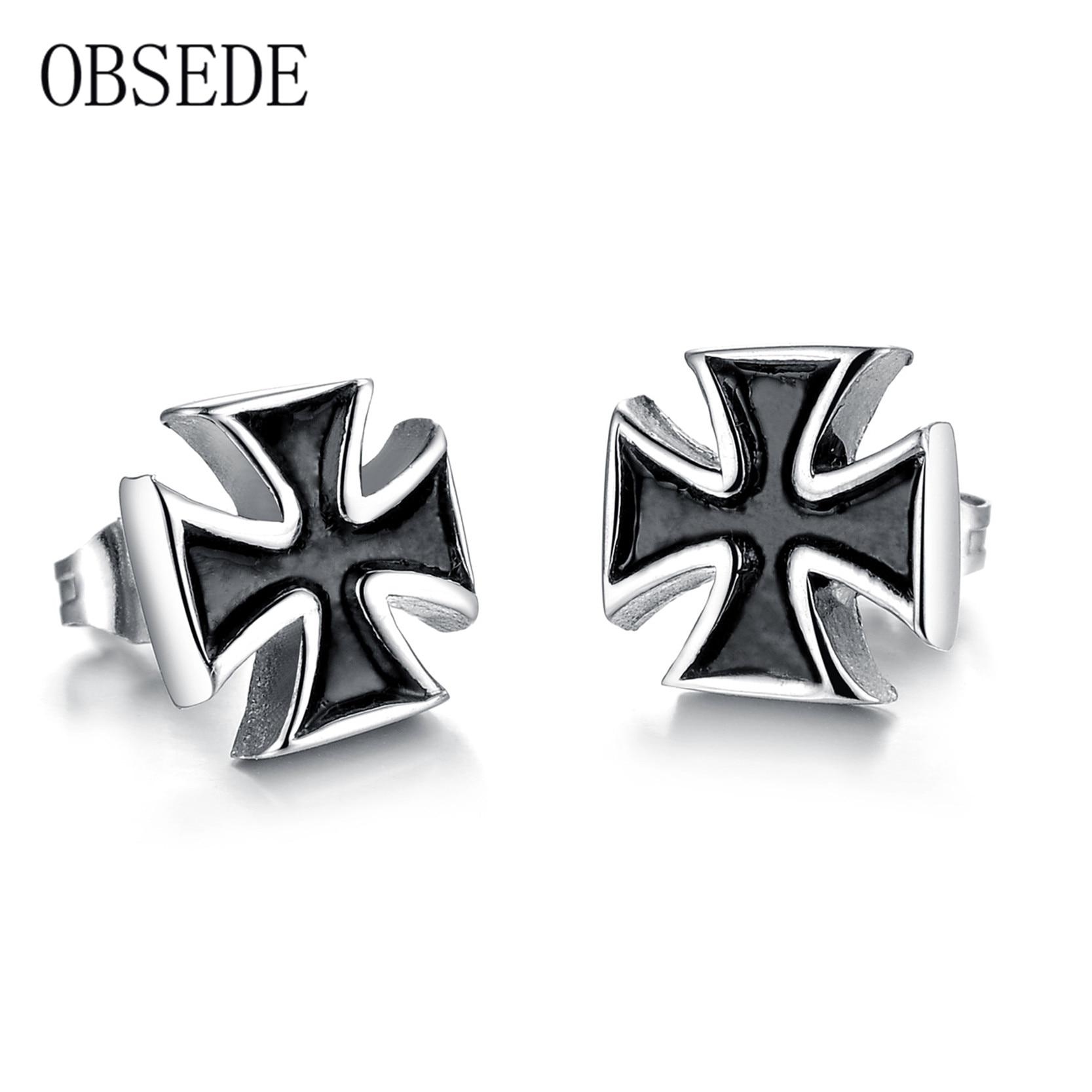 Obsede Fashion Punk Black Cross Stud Earrings Stainless Steel Earring For  Women Men Best Jewelry Gift