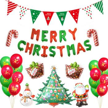 New Merry Christmas Party Balloon Flag Banner Christmas Tree Santa Snowman Balloon Sets Christmas Decorations