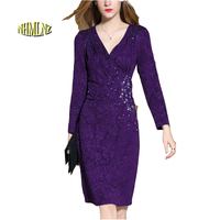 2017 Spring New Deep V-neck Full Sleeves Elegant Women Dress Knee-Length High Waist Weeding Party Dress Crystal Vestidos OK383