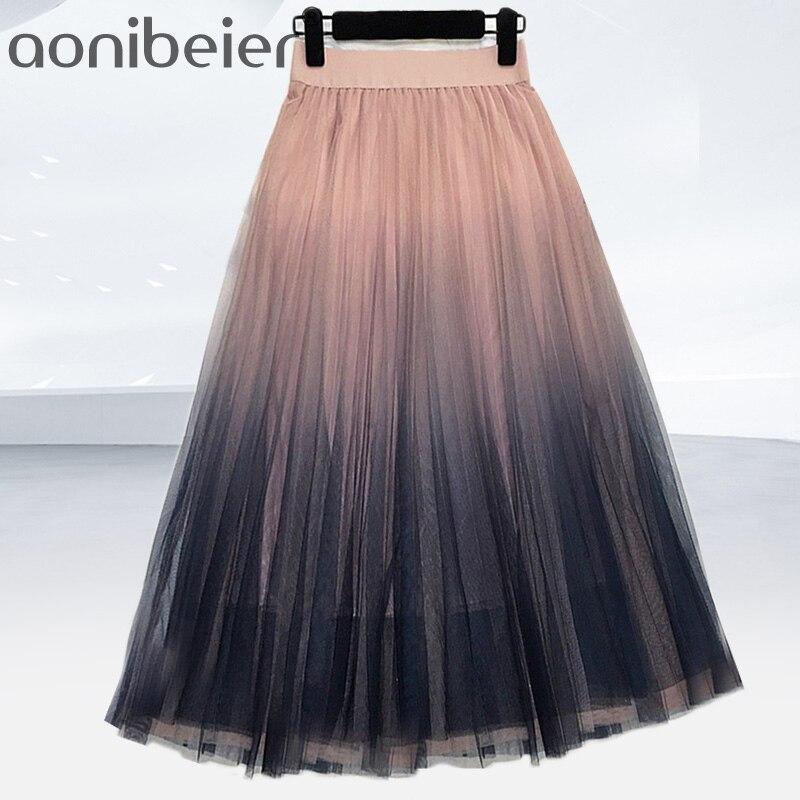 Aonibeier Sheer Mesh Overlay Gradient Color Skirt Elastic High Waist Spring Summer Fashion Women Pleated Skirt Female Midi Skirt