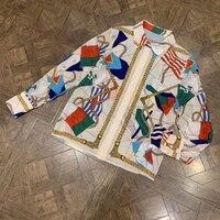 Высокое качество Женские блуза с геометрическим рисунком Весна новейшая шелковая блузка женская с длинным рукавом 2019 роскошная женская бл