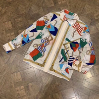 High Quality Women Geometric Blouse Spring Newest Silk Blouse Women Long Sleeve 2019 Luxury Women Blouse with Button
