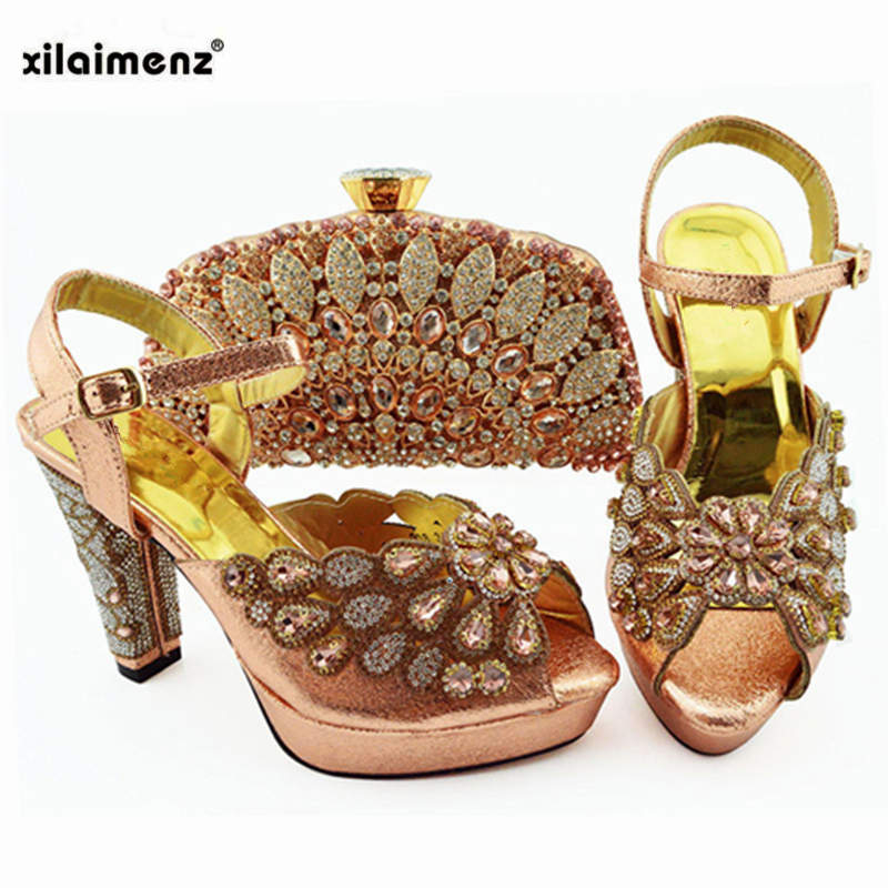 2019 New Peach Color Fashion Rhinestone Woman Shoes And Matching Bag Set African Style Pumps Shoes