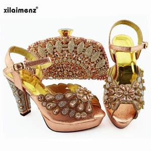 Image 1 - 2019 新ピーチ色ファッションラインストーン女性の靴とマッチングバッグセットアフリカスタイルは靴やバッグセットにパーティー