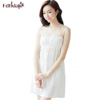 Summer Dress Ladies Nightie 2017 Sexy Cotton Strapless Spaghetti Strap White Nightdress Nightgowns For Women Plus Size XL E1228