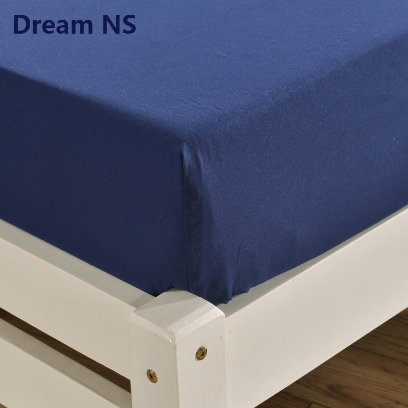 Dream NS 1pcs Fitted BedSheet for Thick Mattress 40cm Soft Sabanas Elastic Bed Sheets Navy Blue King Queen Size Drap de Lit