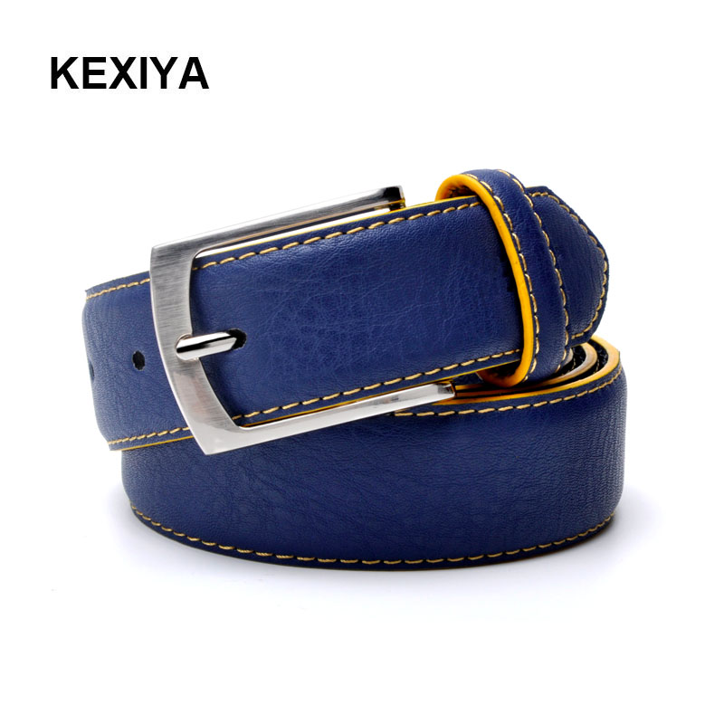 KEXIYA 2017 men   belt   Italian design luxury casual fashion style leather men   belt   blue   belt   from factory outlet