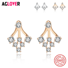 Brand Luxury 925 Sterling Silver Tree Of Life Crystal Stud Earrings For Women Jewelry Wishing Party Wedding Accessories