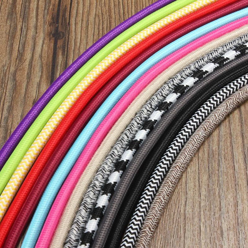 2m 2 cord color vintage twist braided fabric light cable cloth electric wire chandelier pendant lamp