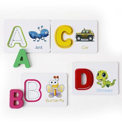 criancas alfabeto carta aprendizagem cartoes conjunto 26
