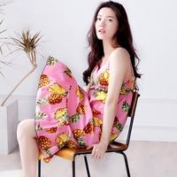 Summer Strap Nightgown Women S 100 Cotton Belt Pad Sexy Sleepwear Female Lounge