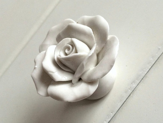 White Flower Drawer Knobs / Rose Dresser  Handles / Unique Cabinet Knobs Pull Handle Ceramic Decorative Knobs Furniture Hardware