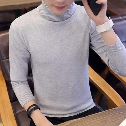 2019 가을 겨울 신사복 터틀넥 스웨터 솔리드 컬러 니트 풀오버 스웨터 남성 캐주얼 하이 넥 니트 M-3XL