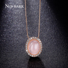 NEWBARK Cute Pink Necklaces & Pendants Retro Donna Collier Ethnique Girls Opal Stone Necklace For Women Fashion Jewelry