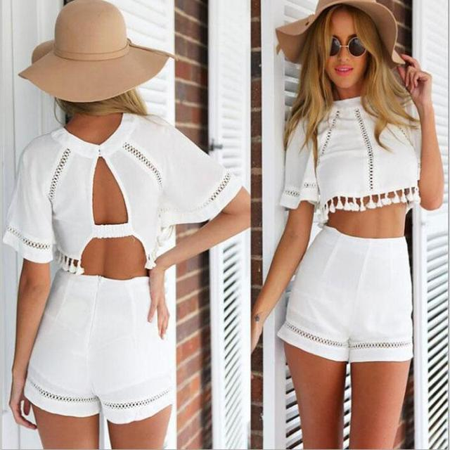 2016 Hot Women Summer Hollow out Printing Two-Piece Sexy Tassel Bare Midriff Short Sleeve Plus Size