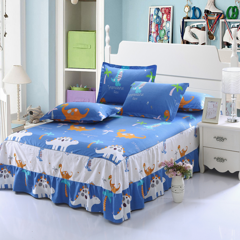 Top fashion cartoon dinosaur 100% cotton Bed Skirt Mattress Cover Petticoat Twin Full Queen Bed Skirts Bedspread bedding sets