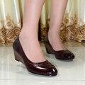 2015 Italia calidad zapatos de las mujeres cuñas de punta redonda de cuero genuino de las mujeres bombea los zapatos de vestido para las mujeres de oficina zapatos 078-G8
