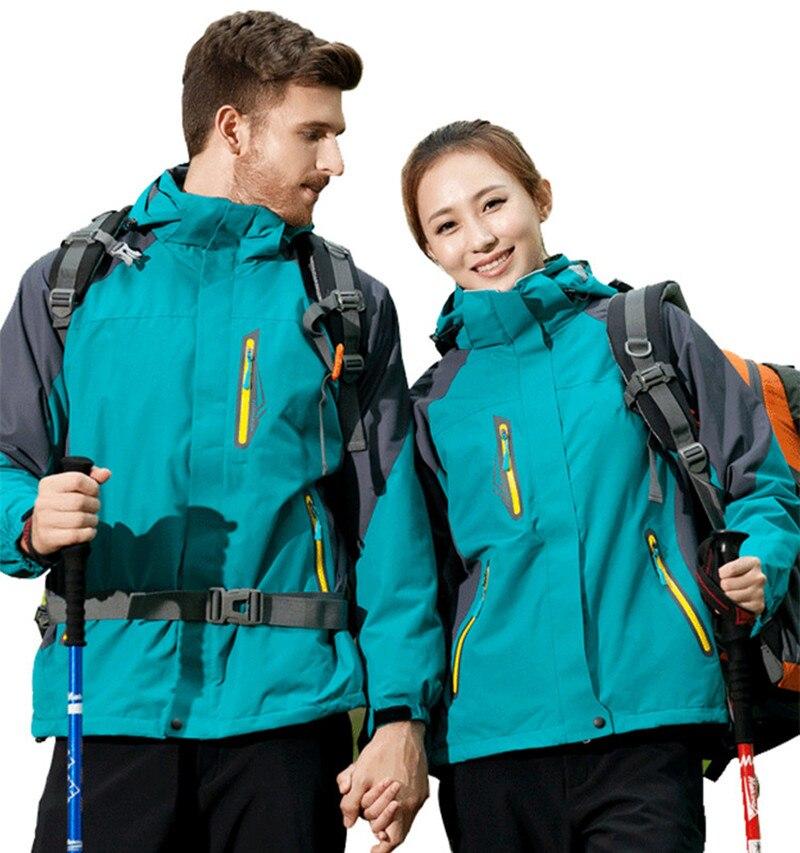 3 In 1 Windproof Waterproof Climbing Clothing Winter Thick Warm Two-Piece Set Men Women Coat Camping Hiking Trekking Jackets