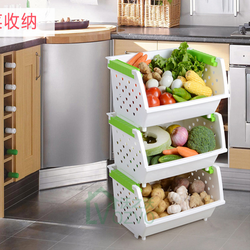 Large Stackable Storage Rack Three Tiered Ed Kitchen Fruit And Vegetable Sorting Compartment Dormitory Artifact In Washing Machine Parts From Home