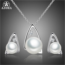 AZORA Simulated Pearl Triangle Necklace Earrings Jewelry Sets Clear Cubic Zirconia for Women Banquet Party Accessories TG0254(China)