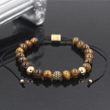 PINIYA Fashion Luxury Mens 8MM Tiger Eye Stone Bead Micro Pave Black CZ Copper Ball Charm Braiding Macrame Bracelet For Women