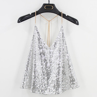 Women 2018 Sequins Sexy Backless Vest Fitness Cropped Summer Tank Top Party Club Blouse Cute Teen