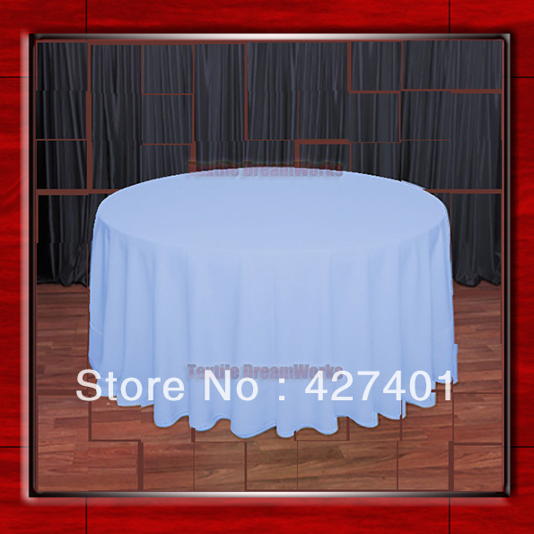 108R Light Blue 210GSM Polyester plain Table Cloth For Wedding Events & Party Decoration(Factory Direct Sales)