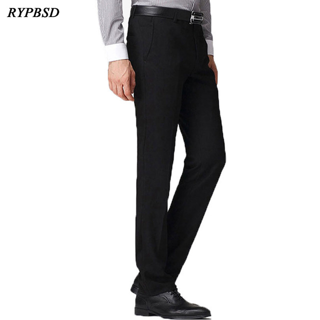 e0426c29e2f Classic Men Black Suit Pants Business Casual Slim Fit Dress Pants Men  Formal Trousers Regular Wedding Straight Four Seasons Wear