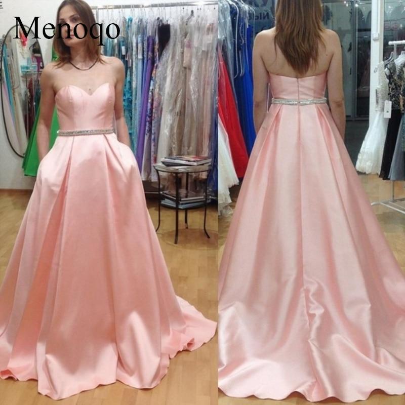 Menoqo Sexy dos nu rose robes de soirée 2019 perlée formelle longues robes de soirée sur mesure formelle Vestido de Festa pas cher vente