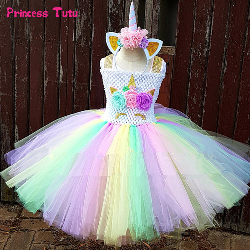 Rainbow Unicorn Tutu Dress Girl Kids Halloween Birthday