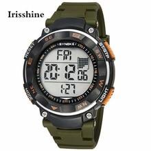Irisshine I0856 hommes montre cadeau marque de luxe Nouveau Étanche Quartz Numérique LED Alarm Date Sport Montre-Bracelet Armée Vert