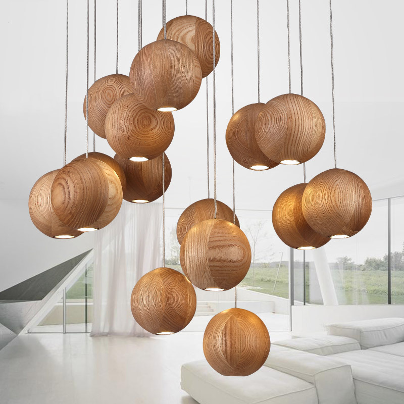 Solid wood chandelier modern Chinese Japanese Nordic creative minimalist living room dining three single-head wood wooden lamp chinese modern creative lamp lift shrink mahjong chess room chandelier wood chandelier restaurant lamp