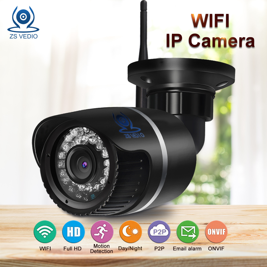 ZSVEDIO Surveillance Cameras WiFi IP Camera Alarm System CCTV Cameras IP Camera wi-fi Waterproof NVR HD Bullet IR Onvif Webcam