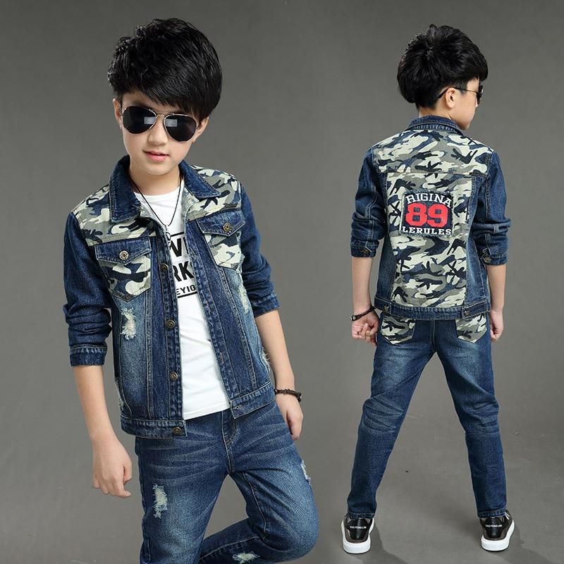 Boys Denim Jacket & Boys Jeans Clothing Set 2pcs Boy Outerwear Denim Pant Boys Clothes 3 4 6 7 8 10 11 13 Years Old 185001 2018 new cartoon boys clothing sets 2pcs denim jacket