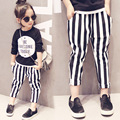 Baby Girls Summer clothing suit Black Full Sleeve shirt letter printed Top Tee +Striped long pants Kids children's Clothes Set