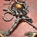 AMUMIU Biker Jewelry For Men 316L Stainless Steel Pretty INRI Crucifix Pendant Necklace Wholesale HZP164
