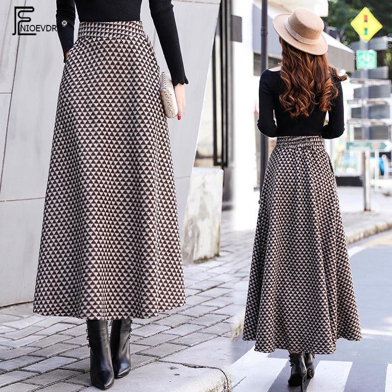 A Line Winter Skirts Women Fashion Hot Warm Design Elegant Lady Office Long Skirt Plaid Printed Elastic High Waist Skirts Long a-line