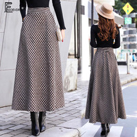 A Line Winter Skirts Women Fashion Hot Warm Design Elegant Lady Office Long Skirt Plaid Printed Elastic High Waist Skirts Long