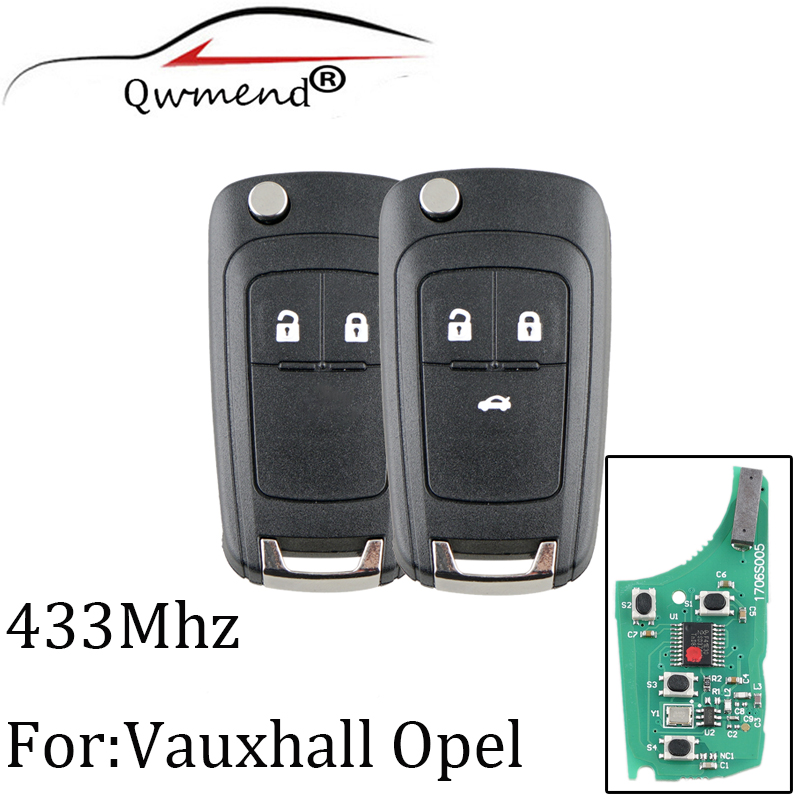 2Buttons 433Mhz Remote Key For Opel Vauxhall Astra J Corsa E Insignia Zafira C 2009-2015