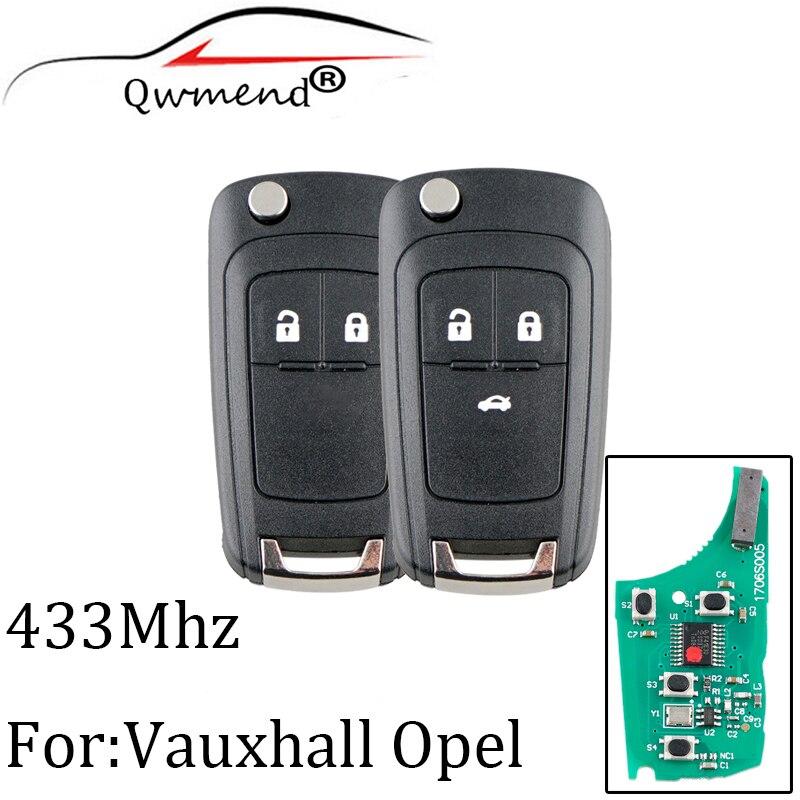 2 botões 433Mhz Remoto chave Para Opel Vauxhall Corsa E Insignia Zafira Astra J C 2009-2015 Transponder chip ID46 Original chave