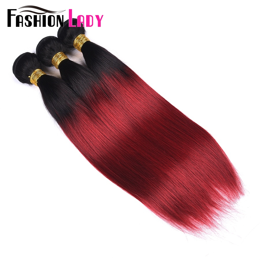 FASHION LADY Pre-Colored Brazilian Straight Hair Ombre Human Hair Weave 1B/Burg Human Hair Bundle 1/3/4 Bundle Per Pack Non-Remy