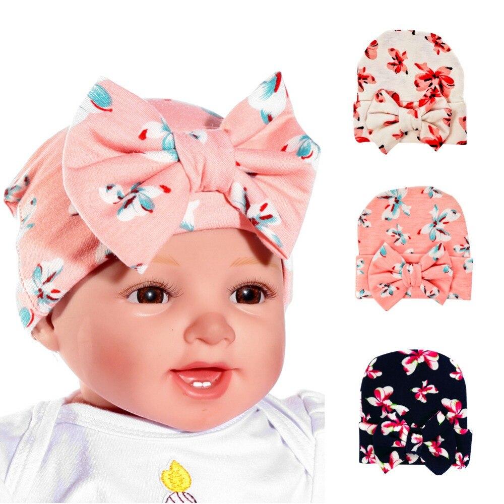 2018 New Baby Newborn Flower Bowknot Beanies Hat Comfortably Hospital Cap Gorro Infantil Headwear