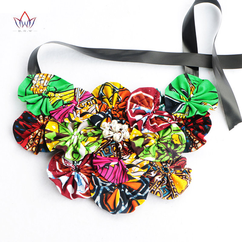 BRW Fashion African Necklaces False Tie For Women Vintage Flower Collares Pearl Jewelry Accessories Ladies Gift WYB09