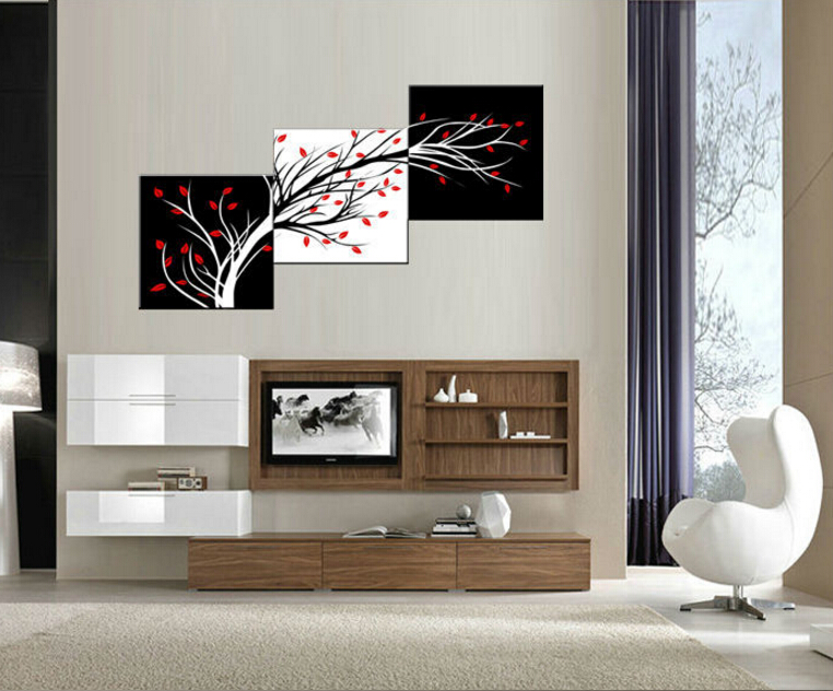 3 panel free shipping money tree modern wall art black and white decorative painting home decor