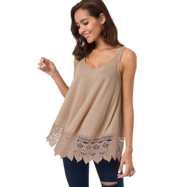 Sommer Casual Frauen Tank Top Lace Stitching Top Tees O Neck Solide Sleeveless Weiblich Camis Lose Plus Größe Weste Frauen kleidung