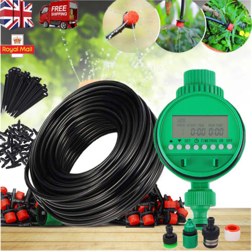 Patio Container Drip Irrigation Watering Kit: 25M Automatic Drip Irrigation System Kit Plant Timer Self