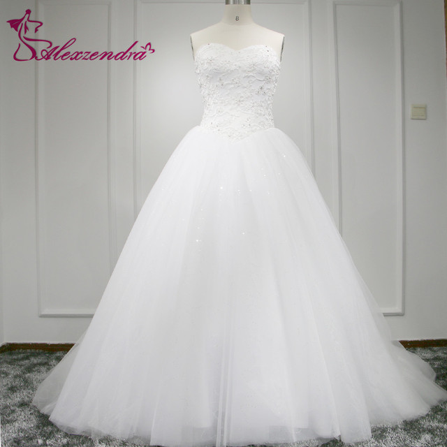 978236a8 Real Photos White Glitter Tulle Elegant A Line Wedding Dress Sweetheart  Applique V Waistline Bridal Wedding Gown Plus Size